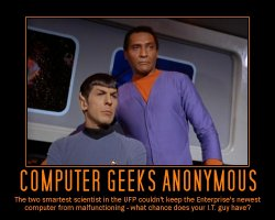 Computer Geeks Anonymous --- The two smartest scientist in the UFP couldn't keep the Enterprise's newest computer from malfunctioning - what chance does your I.T. guy have?