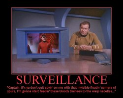 Surveillance --- Captain, if'n ya don't quit spyin' on me with that invisible floatin' camera of yours, I'm gonna start feedin' these bloody trainees to the warp nacelles...