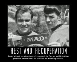 Rest and Recuperation --- Taking a break from the stress of command, the Captain and First Officer peruse an ancient codex found within the archeological site...