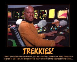 Trekkies --- Unless you attend conventions, you are probably unaware that Avery Brooks is a big fan of Star Trek. He always wears Sulu's uniform at the Starfleet Photo Kiosk...
