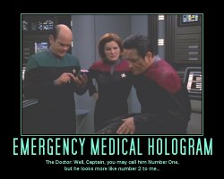 Emergency Medical Hologram --- The Doctor: Well, Captain, you may call him Number One, but he looks more like number 2 to me...