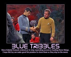 Blue Tribbles --- Since Admiral Komack ordered us to stop expending resources hunting these things, I hope McCoy can make good his promise to clone them so they stay on the menu.