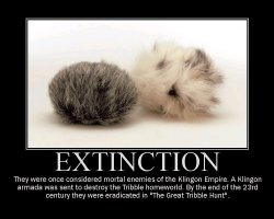 Extinction --- They were once considered mortal enemies of the Klingon Empire. A Klingon armada was sent to destroy the Tribble homeworld. By the end of the 23rd century they were eradicated in 'The Great Tribble Hunt'.