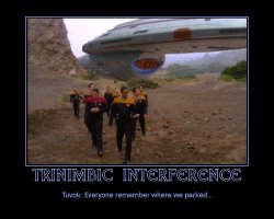 Trinimbic Interference --- Tuvok: Everyone remember where we parked...