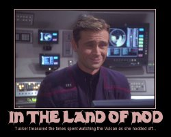 In the Land of Nod --- Tucker treasured the times spent watching the Vulcan as she nodded off...