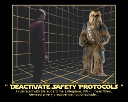 Deactivate Safety Protocols --- Frustrated with life aboard the Enterprise, Wil - I mean Wes, devised a very creative method of suicide...