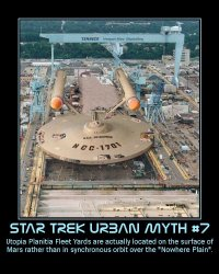 Star Trek Urban Myth #7 --- Utopia Planitia Fleet Yards are actually located on the surface of Mars rather than in synchronous orbit over the 'Nowhere Plain'.