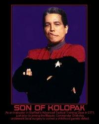 Son of Kolopak --- As an instructor in Starfleet's Advanced Tactical Training Class in 2371, just prior to joining the Maquis, Commander Chakotay underwent facial surgery to correct a childhood genetic defect.